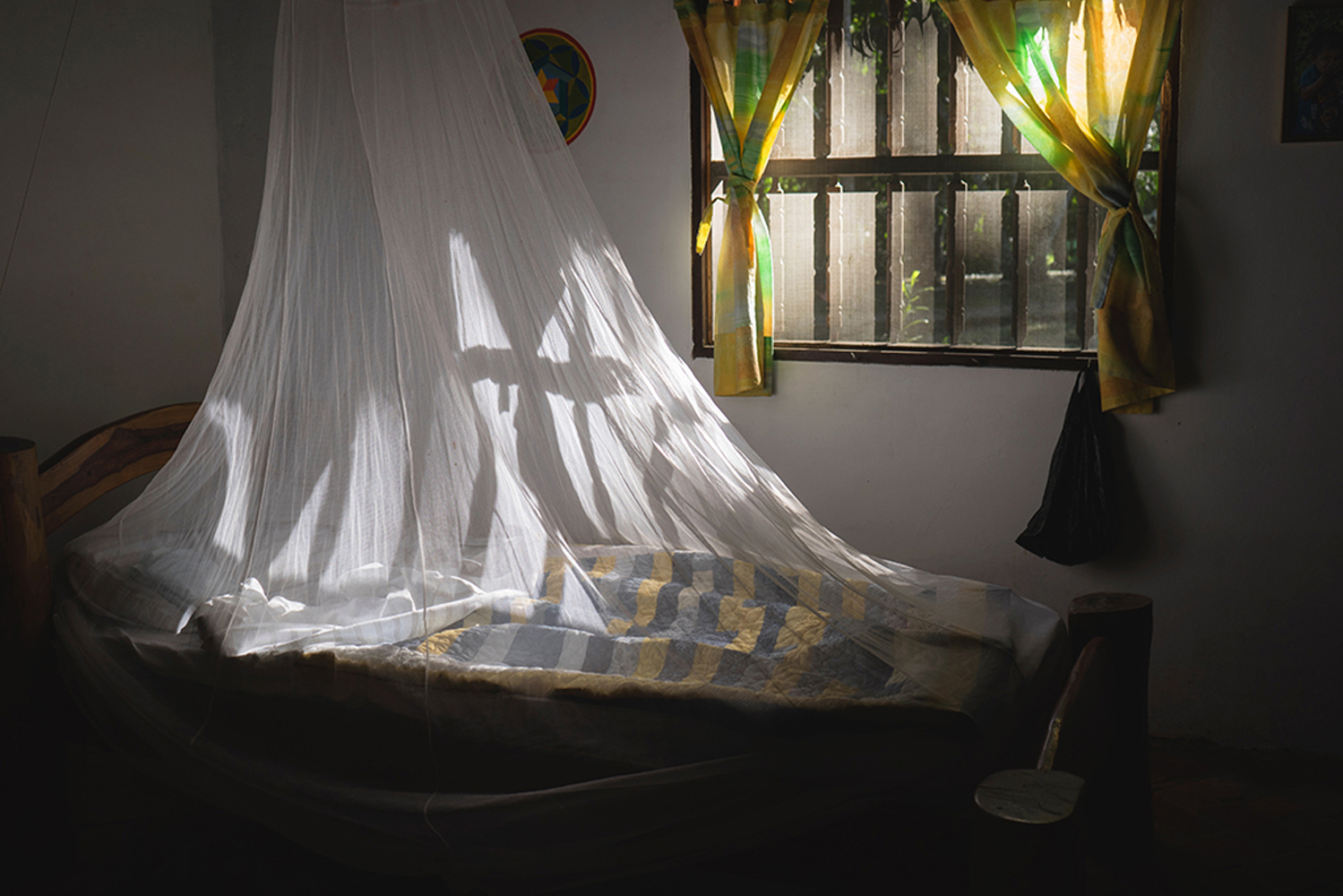 Bed draped with mosquito netting.
